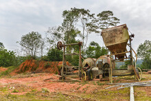 The Rusty, Decrepit Concrete Mixer Was Abandoned Outdoors