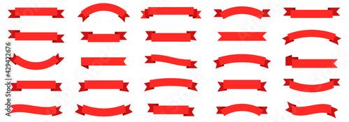 Ribbon banner set. Ribbons collection. Red ribbons. Vector ribbon - fototapety na wymiar