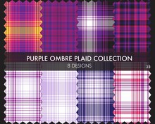 Purple Ombre Plaid Textured Seamless Pattern Collection