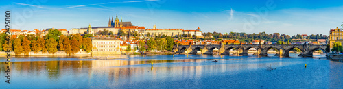 Fotografering Beautiful skyline panorama of Prague with Charles bridge and Prague castle