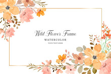 Wild Flower Frame Background With Watercolor