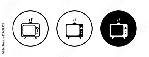 Photo TV vector icons set. Television icon