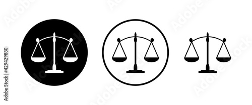 Canvas Print Scales icons set. Law scale icon. Scales vector icon. Justice