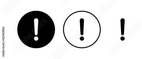 Obraz Exclamation danger sign vector icon set. attention sign icon. Hazard warning attention sign. icon alert. Risk - fototapety do salonu