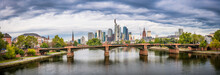 Panorama Of Frankfurt Skyscrapers At Cloudy Day. Germany