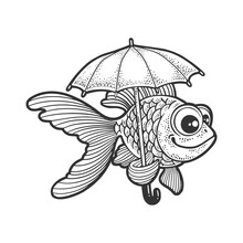 Cartoon Golden Fish With Umbrella Sketch Engraving Vector Illustration. T-shirt Apparel Print Design. Scratch Board Imitation. Black And White Hand Drawn Image.