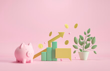 Piggy Bank, Coins And Money Tree. Business Target Achievement Concept. 3d Render Illustration. Investments That Generate Income. Deposit At A Favorable Interest Rate In The Bank.