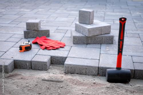 Fototapeta Paving stones paving background closeup