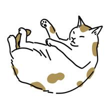 熟睡ているぶち猫のイラスト