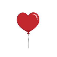 Red Heart Balloon Isolated On White Background. Valentine's Day Concept. Vector Stock