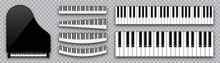 Realistic Piano Keys Collection. Musical Instrument Keyboard On Checkered Background. Vector Illustration.