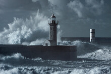 Storm At The Douro Mouth North Beacon And Pier