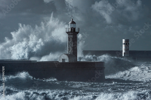 Storm at the Douro mouth north beacon and pier - fototapety na wymiar