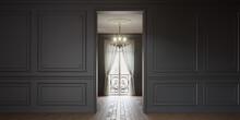 Rendu 3D D'un Intérieure De Type Haussmannien Avec Mur Gris Anthracite
