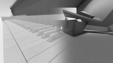 3D Illustration - Computer Generated Piano Keys And  Abstract Concrete Shape.