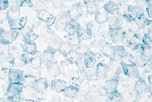 Ice Cubes Blue Background. Heap Of Ice Cubes On White Background.