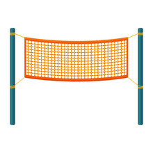 An Orange Volleyball Net Stretched Between Two Blue Poles. Grid For Team Sports Such As Volleyball Badminton. Vector Illustration In A Flat Style Isolated On White Background.