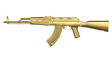 Gold AK-47 Assault Rifle Isolated On White Background. Classic Soviet AK Machine Gun. Gold Weapon