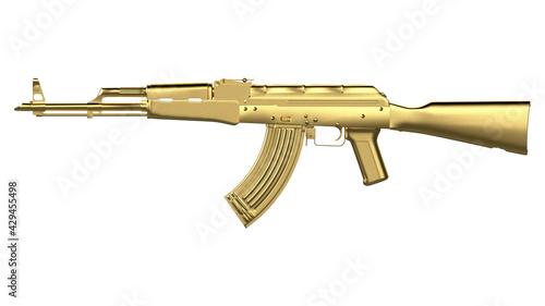 Fotografia Gold AK-47 assault rifle isolated on white background