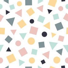 Seamless Pattern Of Beautifully Geometrick Shapes. Neutral Colors. Best For Polka Dot Fabric, Wallpaper, Gift Wraps