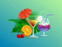 Colorful Summer Cocktails Decorated With Straws, Flowers, And Cocktail Umbrellas Vector Cartoon Illustration. Green Tropical Leaves, Orange, And Cherries. Fresh Cold Alcohol Beverages Concept.