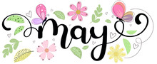 Hello May. MAY Month Vector With Flowers, Butterfly And Leaves. Decoration Floral. Illustration Month May