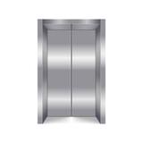 Elevator close lift cabin entrance isolated on white background