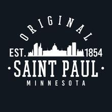 St Paul, MN, USA Skyline Original. A Logotype Sports College And University Style. Illustration Design Vector.