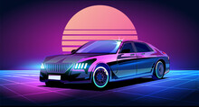 Cyberpunk Business Car In The Retrowave Style Of The 80s, Illuminated With Neon Vector Illustration