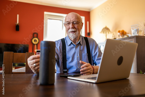 Fotografie, Obraz Senior man doing online purchase using a credit card and a wireless smart speake