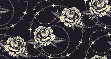 Seamless Pattern With Flowers And Chains For Dark Background. Ideal For Textiles, Packaging, Decorating, And Many Other Uses