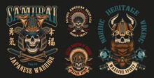 Colorful Of Vector Illustrations With Skulls Warriors Such Us; Spartan, Samurai Viking And Others On A Dark Background. Perfect For Shirt Prints, Logos And Many Other.