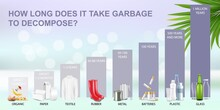 How Long Does It Take Garbage To Decompose In The Environment, Vector Infographic. Waste Decomposition Timeline. Ecology