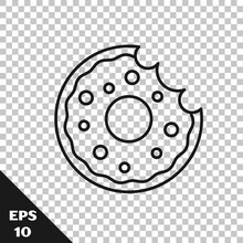 Black Line Donut With Sweet Glaze Icon Isolated On Transparent Background. Vector
