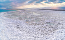 Crystalline White Salt Beach Lit By Morning Sun, Small Pools With Seawater At Dead Sea - World Most Hypersaline Lake
