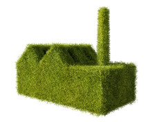 Factory Building Made From Grass. Concept For Green New Deal And Sustainable Production In The Industry. Isolated On Pure White Background.