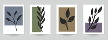 Set Of Abstract Art Concept Composition With Silhouettes Leafs And Geometric Shapes In Minimal Style. Design Modern Trendy Background For Print, Poster, Card, Wallpaper. Botanical Vector Illustration.