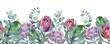 Leinwandbild Motiv watercolor seamless border beautiful plants and flowers