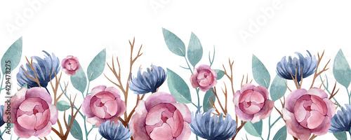 Fotografija watercolor seamless border beautiful plants and flowers