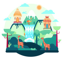 Wooden Huts Stand On A Hill, Giraffe And Pink Flamingo, African Landscape, Flat Cartoon Illustration - . Picture Isolated On White Background.
