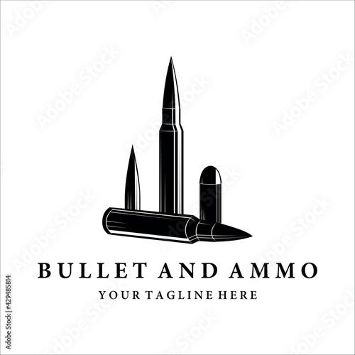 Foto bullet ammo vintage vector logo illustration template design