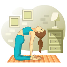 Young Woman Practicing Yoga At Home And Meditating. Simple Exercise At Home. Physical And Spiritual Practice. Iillustration In Flat Cartoon Style.