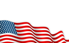 USA Flag Waving On The Wind. 4th Of The July Or Independence Day Background. Vector Illustration