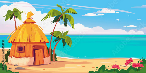 Bungalow on Maldives island with palm trees and tropical flowers, resort water villas vector banner Fototapeta
