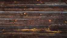 Brown Grunge Background From Old Log Wall Of Rustic Hut For Creative Backdrops, Decoration Or Stylish Design