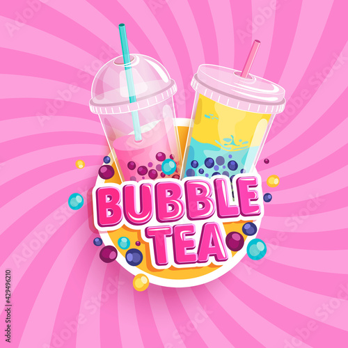 Bubble tea banner on sweet sunburst background. Bubbletea with fruits and berries Milkshake smoothie in plastic cups with place for text and brand.Great for flyers, posters, cards.Vector illustration. - fototapety na wymiar