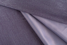 Curtain Fabric Blackout Lilac Color, Folded Folds, Top View, Background