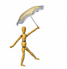 Wooden Modeling Dummy Dancing Or Walking A Tightrope With An Umbrella. Cutout Isolated.