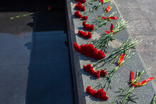 Victory Day On 9 May, Carnations Flowers At Eternal Fire Monument In Honor Or Memory Of The Fallen Soldiers In The Great World War II 1941-1945. Grave Of Unknown Soldier In Samara