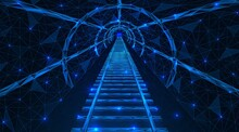 Underground Tunnel With Rails. Metro Train Track. Polygonal Design Of Lines And Points. Blue Background.
